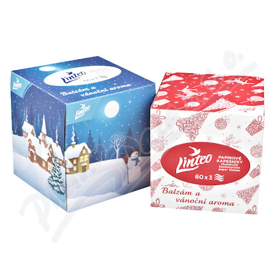 Papírové kapesníky LINTEO vánoční-box 3vrstvé 60ks