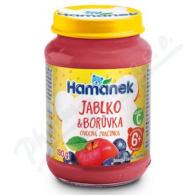 Hamánek Jabko+borůvka 190g ovocná svačinka 6m+
