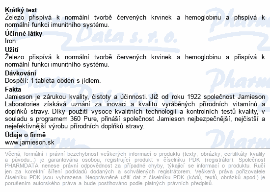 JAMIESON Železo 35 mg s postupným uvolňov.tbl.60
