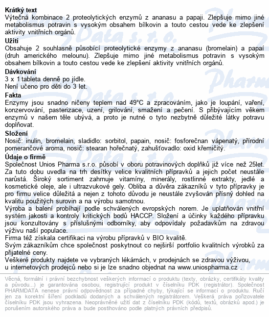 Uniospharma Bromelain+Papaya 60mg tbl.90