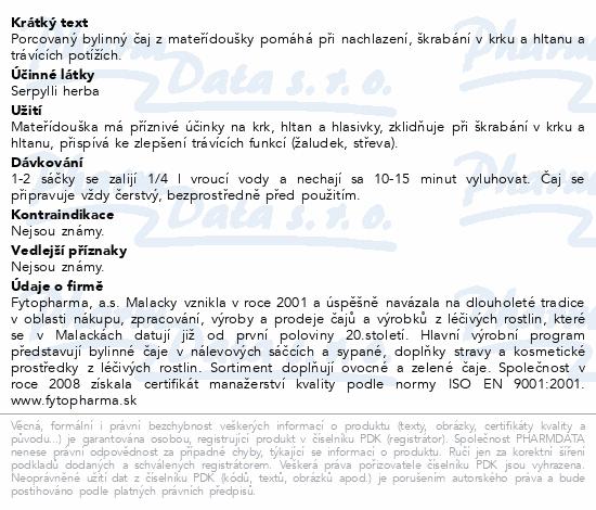 Mateřídouška 20x1g Fytopharma