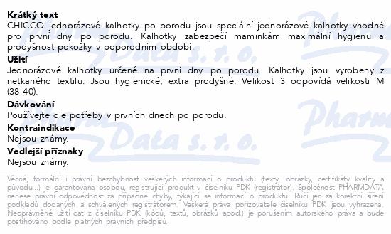 CHICCO Kalhotky jednorázové po porodu vel.3/4ks