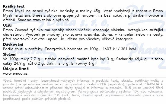 EMCO Mysli Ovesná tyčinka borůvka a maliny 45g