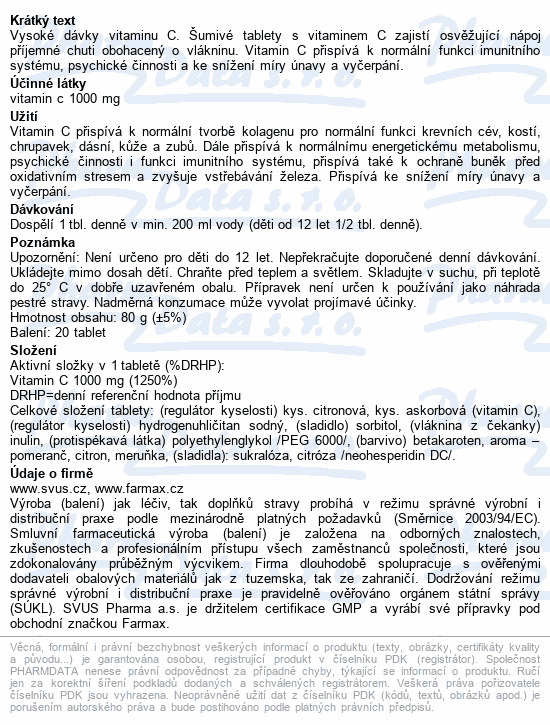 Farmax Vitamin C 1000mg 20 šumivých tablet