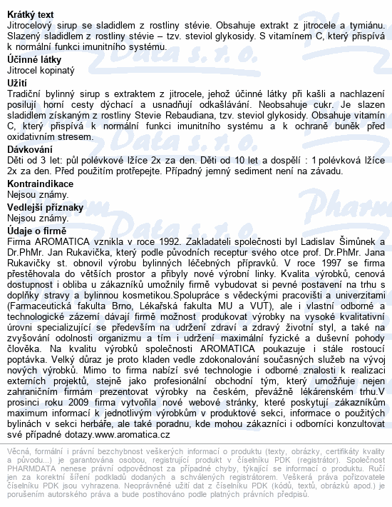 AROMATICA Jitrocelový sirup Stévian se stévií210ml