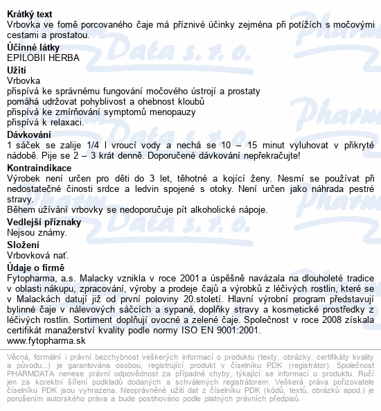 Vrbovka 20x1.25g n.s. Fytopharma