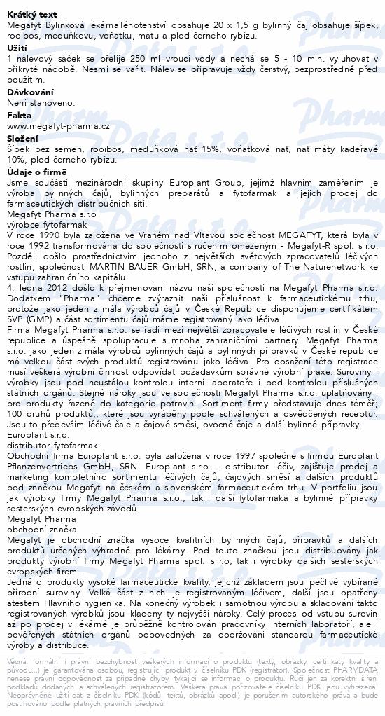 Megafyt Bylinková lékárna Těhotenství 20x1.5g