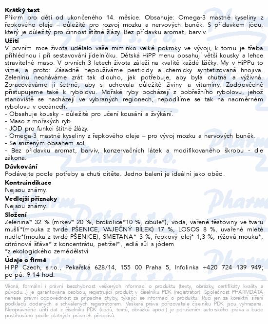 HiPP MENU Těstoviny s losos. brok. a smet. 250g