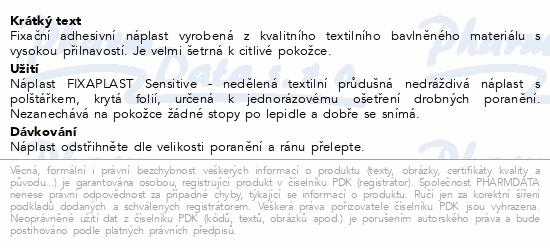 FIXAplast text. průdušná náplast SENSITIVE 1mx6cm
