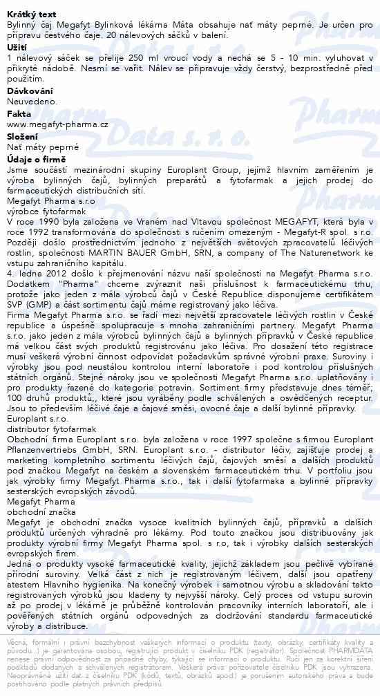 Megafyt Bylinková lékárna Máta 20x1.5g