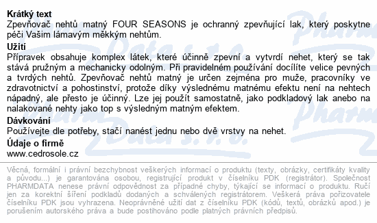 Four Seasons Zpevňovač nehtů matný 14ml