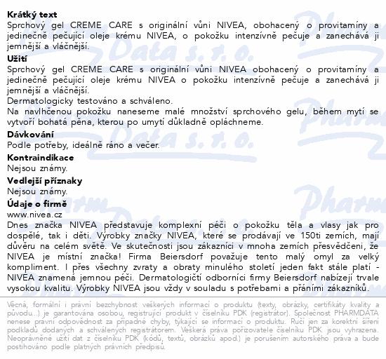 NIVEA sprchový gel Creme Care 250ml 83625