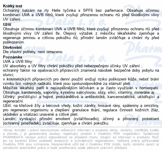 Balzám na rty Helle tyčinka SPF6 Klasika 3.7g